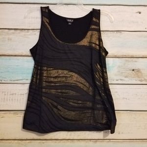 Allen B. Gold n Black Abstract Tank size Large.